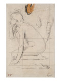 Sheet of Studies for Semiramis: Naked Woman Crouching