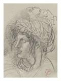 Etude de tête de femme aux longs cheveux  couronnée de lauriers de trois-quarts