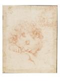 Tête d'enfant dormant et détail de chevelure bouclée