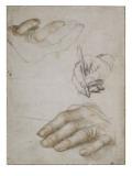 """Feuille de trois études des mains pour le """"Portrait d'Erasme (1467-1536)"""""""