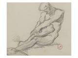 Etude d'homme nu assis se tenant des deux mains la jambe droite