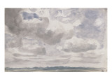 Etude de ciel avec gros nuages blancs et gris