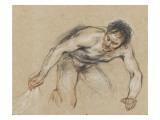 Etude d'homme nu agenouillé tirant une draperie