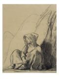 Petite paysanne assise au pied d'une meule