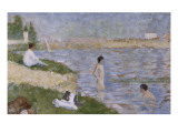 """Etude pour """"Une Baignade à Asnières""""  personnage dans l'eau"""