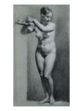 Etude de femme nue debout  les bras appuyés à une branche