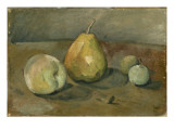 Nature morte  poire et pommes vertes