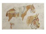 Etude de mule harnachée; 1832