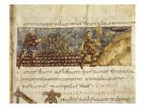 Scène de semailles et d'offrande d'une gerbe  manuscrit enluminé Psautier de Stuttgart