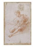 Etude pour la Madone d'Albe Homme assis vêtu d'une chemise  jambes nues