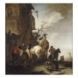 Halte de chasseurs et de cavaliers