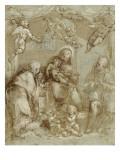 La Sainte Famille servie par les anges