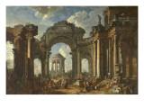 La prédication d'un apôtre dans des ruines d'architecture
