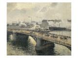 Le Pont Boïeldieu à Rouen  soleil couchant  temps brumeux