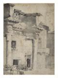 Le portique d'Octavie avec figures au premier plan