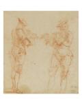 Deux hommes debout jouant de la flûte