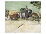 Les roulottes  campement de bohémiens aux environs d'Arles