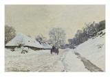 La charrette Route sous la neige à Honfleur  avec la ferme de Saint-Siméon