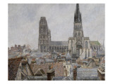 The Roofs of Old Rouen  Grey Weather  1896 Cathedral