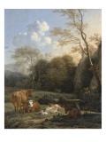 Le Bocage ; Vaches  ânes et moutons près d'un ruisseau