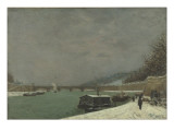 La Seine au pont d'Iéna Temps de neige