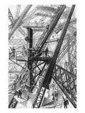 La Tour Eiffel : vue d'ensemble d'une des grues de montage n°2