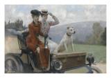 Les Dames Goldsmith au bois de Boulogne en 1897 sur une voiturette Peugeot