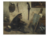 Le Singe peintre dit Int&#233;rieur d&#39;atelier