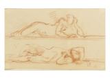 Deux études d'homme nu allongé l'un sur le côté l'autre sur le dos