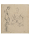 Two Studies of Nude Men One Standing  Another Sitting