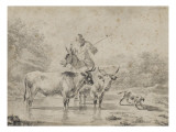 Two Oxen and a Shepherd on a Donkey Through the Ford