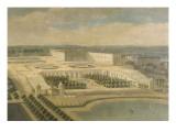 Vue de l'Orangerie  des parterres et du château de Versailles prises des hauteurs de Satory