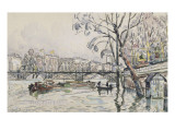Vue de la Seine en crue au Pont des Arts