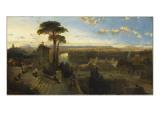 Vue de Rome au crépuscule prise du couvent San Onofrio sur le mont Janicule
