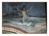 Jonas rendu au jour par le monstre marin  troisième travée du côté droit de la nef de l'église
