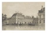Souvenirs de Fontainebleau : Cour de la Fontaine  vue prise de l'avenue de Maintenon vers 1860