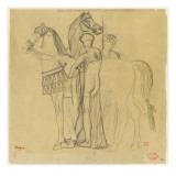 Deux chevaux conduits par deux femmes