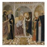 L'Annonciation et quatre saints Avec saint Jean-Baptiste  saint Antoine  sainte Catherine et