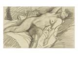 Etude de femme nue  couchée sur un lit cachant le visage de sa main droite