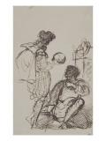 """Deux hommes contemplant un crâne d'après """"Hamlet"""" de Shakespeare"""