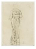 Femme  de dos  vêtue d'une robe longue  ample et ceinturée