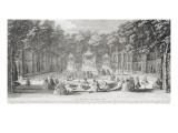 """Planche 44: vue du bosquet des Bains d'Apollon dans les jardins de Versailles vers 1730 (""""vue des"""