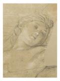 Femme ailée  couchée sur des nuages