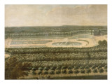 Vue de l&#39;Orangerie  des parterres et du ch&#226;teau de Versailles prises des hauteurs de Satory