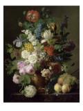 Vase de fleurs  raisins et pêches