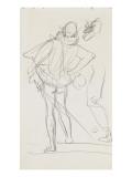 Carnet de dessins : homme de dos portant une épée au côté et vêtu d'un costume renaissance