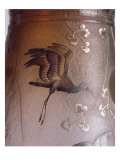 """Vase aux cygnes  d'après une poterie kabyle """"décor de marais et hérons"""" (dénomination Daum)"""