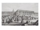 Planche 26: vue du château de Versailles prise de puis l'extrémité des Parterres d'Eau vers 1730