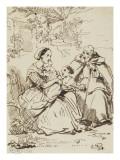 Femme  deux enfants et un moine