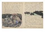 Album Ancien culte Mahori : un couple assis et troupeau de cochons Giclée par Paul Gauguin